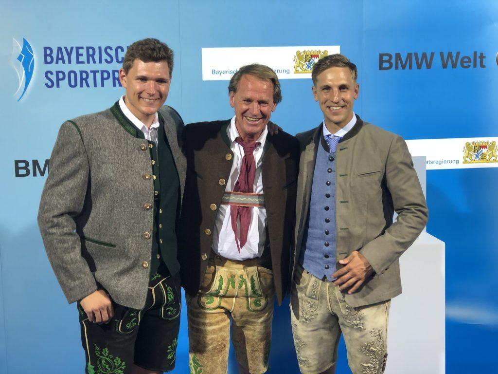 Skifahrer unter sich (v.l.): Thomas Dreßen, Markus Wasmeier und Josef Ferstl